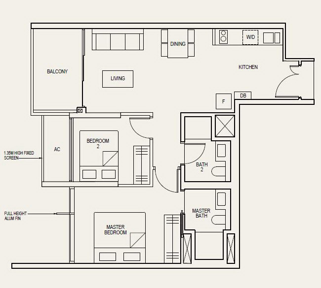 The Avenir Floor Plan 2 Bedroom 2b