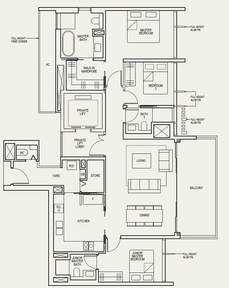 The Avenir Floor Plan 3 Bedroom